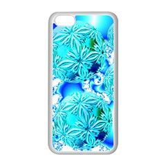 Blue Ice Crystals, Abstract Aqua Azure Cyan Apple iPhone 5C Seamless Case (White) from Diane Clancy Art Front
