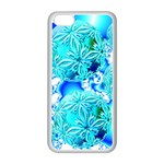 Blue Ice Crystals, Abstract Aqua Azure Cyan Apple iPhone 5C Seamless Case (White)