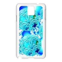 Blue Ice Crystals, Abstract Aqua Azure Cyan Samsung Galaxy Note 3 N9005 Case (White) from Diane Clancy Art Front