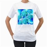 Blue Ice Crystals, Abstract Aqua Azure Cyan Women s T-Shirt (White)