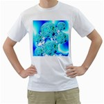 Blue Ice Crystals, Abstract Aqua Azure Cyan Men s T-Shirt (White)