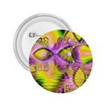 Golden Violet Crystal Heart Of Fire, Abstract 2.25  Button