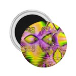 Golden Violet Crystal Heart Of Fire, Abstract 2.25  Button Magnet