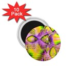 Golden Violet Crystal Heart Of Fire, Abstract 1.75  Button Magnet (10 pack)