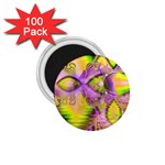 Golden Violet Crystal Heart Of Fire, Abstract 1.75  Button Magnet (100 pack)