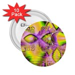 Golden Violet Crystal Heart Of Fire, Abstract 2.25  Button (10 pack)