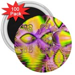 Golden Violet Crystal Heart Of Fire, Abstract 3  Button Magnet (100 pack)