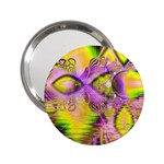 Golden Violet Crystal Heart Of Fire, Abstract Handbag Mirror (2.25 )