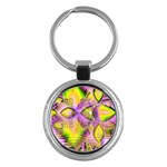 Golden Violet Crystal Heart Of Fire, Abstract Key Chain (Round)