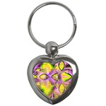 Golden Violet Crystal Heart Of Fire, Abstract Key Chain (Heart)