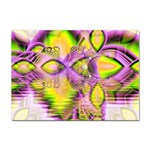 Golden Violet Crystal Heart Of Fire, Abstract A4 Sticker