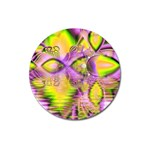 Golden Violet Crystal Heart Of Fire, Abstract Magnet 3  (Round)