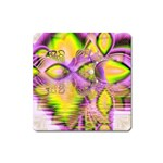Golden Violet Crystal Heart Of Fire, Abstract Magnet (Square)