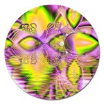 Golden Violet Crystal Heart Of Fire, Abstract Magnet 5  (Round)