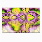 Golden Violet Crystal Heart Of Fire, Abstract Postcard 5  x 7