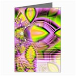 Golden Violet Crystal Heart Of Fire, Abstract Greeting Card