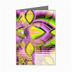 Golden Violet Crystal Heart Of Fire, Abstract Mini Greeting Card