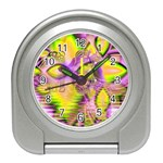 Golden Violet Crystal Heart Of Fire, Abstract Desk Alarm Clock