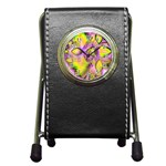 Golden Violet Crystal Heart Of Fire, Abstract Stationery Holder Clock