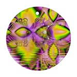 Golden Violet Crystal Heart Of Fire, Abstract Round Ornament (Two Sides)