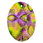 Golden Violet Crystal Heart Of Fire, Abstract Oval Ornament (Two Sides)