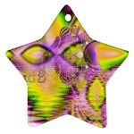Golden Violet Crystal Heart Of Fire, Abstract Star Ornament (Two Sides)