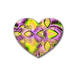 Golden Violet Crystal Heart Of Fire, Abstract Drink Coasters (Heart)