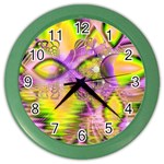 Golden Violet Crystal Heart Of Fire, Abstract Wall Clock (Color)