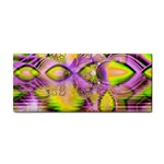 Golden Violet Crystal Heart Of Fire, Abstract Hand Towel