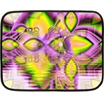 Golden Violet Crystal Heart Of Fire, Abstract Mini Fleece Blanket (Two Sided)