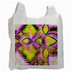 Golden Violet Crystal Heart Of Fire, Abstract White Reusable Bag (One Side)
