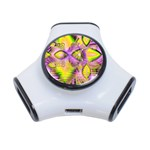 Golden Violet Crystal Heart Of Fire, Abstract 3 Port USB Hub
