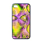 Golden Violet Crystal Heart Of Fire, Abstract Apple iPhone 4 Case (Black)