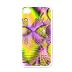 Golden Violet Crystal Heart Of Fire, Abstract Apple iPhone 4 Case (White)