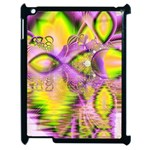 Golden Violet Crystal Heart Of Fire, Abstract Apple iPad 2 Case (Black)