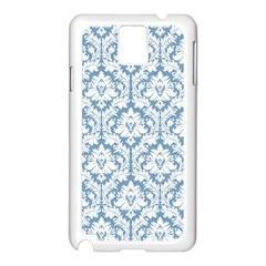 White On Light Blue Damask Samsung Galaxy Note 3 N9005 Case (white) by Zandiepants
