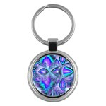 Peacock Crystal Palace Of Dreams, Abstract Key Chain (Round)