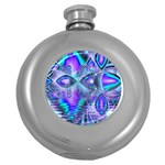 Peacock Crystal Palace Of Dreams, Abstract Hip Flask (Round)
