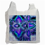 Peacock Crystal Palace Of Dreams, Abstract White Reusable Bag (Two Sides)