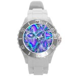 Peacock Crystal Palace Of Dreams, Abstract Plastic Sport Watch (Large)