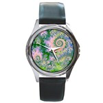 Rose Apple Green Dreams, Abstract Water Garden Round Leather Watch (Silver Rim)