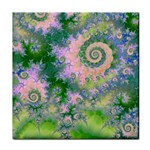 Rose Apple Green Dreams, Abstract Water Garden Ceramic Tile