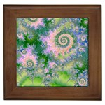 Rose Apple Green Dreams, Abstract Water Garden Framed Ceramic Tile