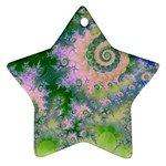 Rose Apple Green Dreams, Abstract Water Garden Star Ornament