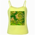 Rose Apple Green Dreams, Abstract Water Garden Yellow Spaghetti Tank