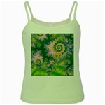 Rose Apple Green Dreams, Abstract Water Garden Green Spaghetti Tank