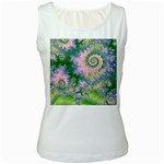Rose Apple Green Dreams, Abstract Water Garden Women s Tank Top (White)
