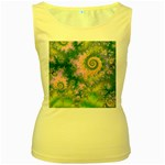 Rose Apple Green Dreams, Abstract Water Garden Women s Tank Top (Yellow)