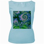 Rose Apple Green Dreams, Abstract Water Garden Women s Tank Top (Baby Blue)