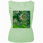 Rose Apple Green Dreams, Abstract Water Garden Women s Tank Top (Green)